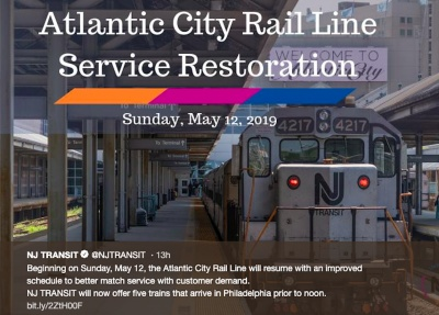 AC Rail Line to resume service
