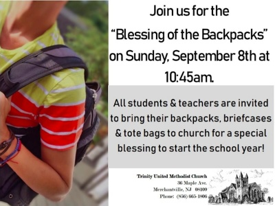 Back-to-School Backpack Blessing