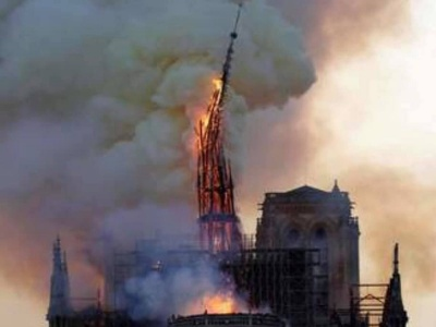 Fire erupts in Paris cathedral